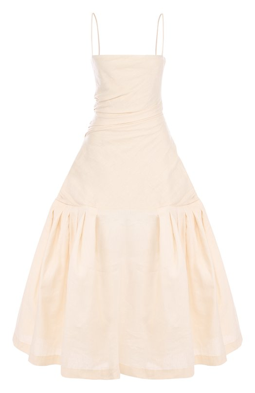 Купить Однотонное платье-миди из смеси хлопка и льна Jacquemus, 181DR02, Болгария, Бежевый, Лен: 64%; Хлопок: 36%; Подкладка-хлопок: 100%;