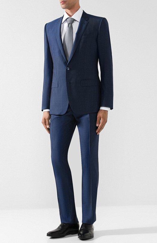Купить Костюм из смеси шерсти и шелка с пиджаком на двух пуговицах Dolce & Gabbana, GK0EMT/FU3NX, Италия, Синий, Шерсть: 80%; Шелк: 20%; Подкладка-вискоза: 100%;