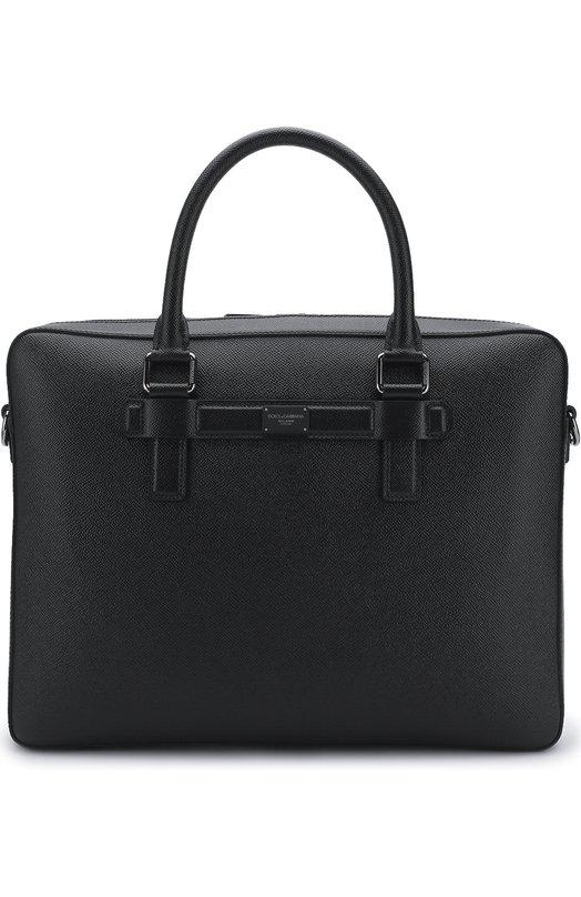Купить Кожаная сумка для ноутбука Mediterraneo с плечевым ремнем Dolce & Gabbana, BM1430/AI359, Италия, Черный, Кожа натуральная: 100%;