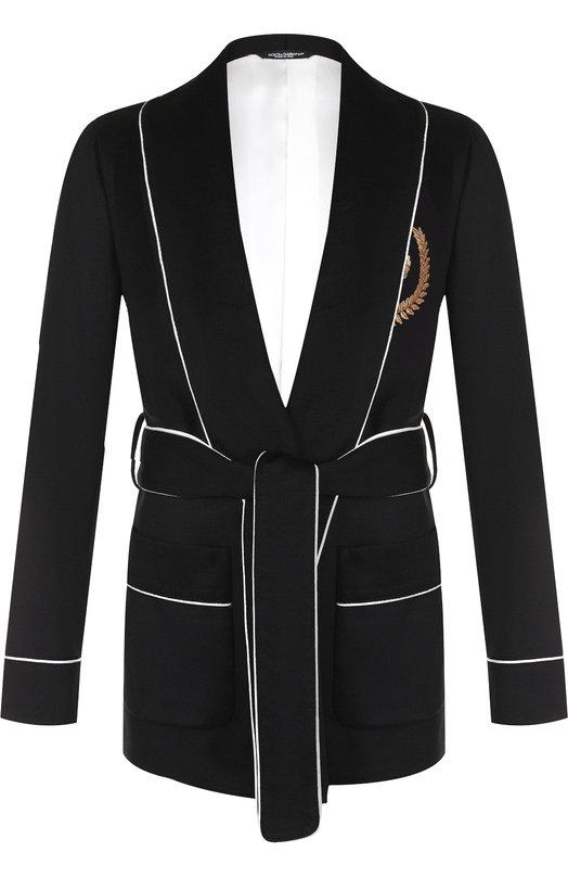 Купить Кашемировый пиджак с поясом и шалевыми лацканами Dolce & Gabbana, G001HZ/FU2AX, Италия, Черный, Кашемир: 100%;