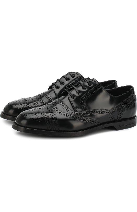 Купить Кожаные дерби Marsala на шнуровке с брогированием Dolce & Gabbana, 0111/A10276/AC460, Италия, Черный, Кожа натуральная: 100%; Подошва-резина: 100%;