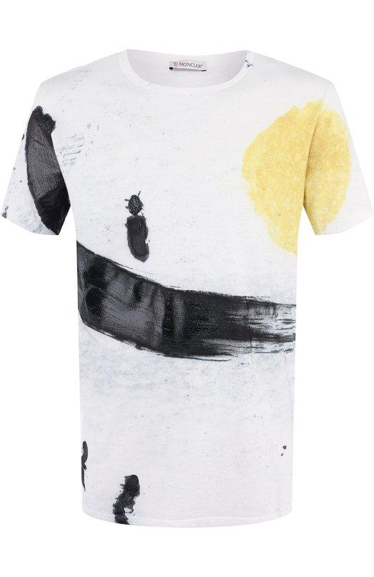 Купить Хлопковая футболка с принтом Moncler, D1-091-80351-50-809AR, Италия, Белый, Хлопок: 100%;