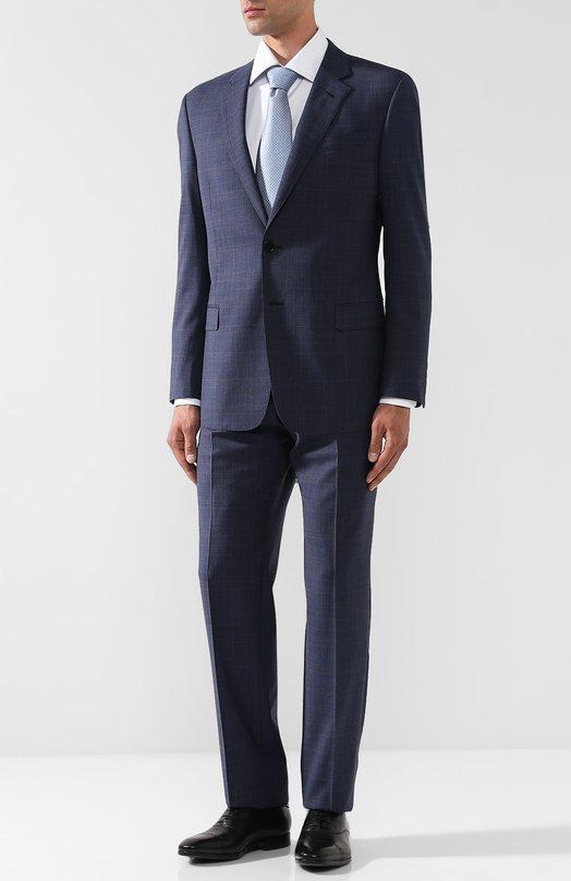 Купить Шерстяной костюм с пиджаком на двух пуговицах Giorgio Armani, WSVE2E/WS811, Италия, Темно-синий, Шерсть: 100%; Подкладка-вискоза: 100%;