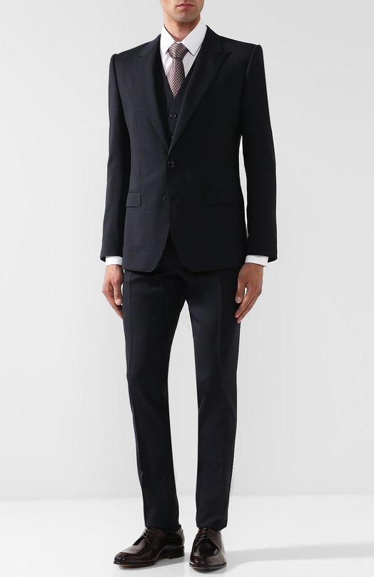 Купить Шерстяной костюм-тройка Dolce & Gabbana, GK0XMT/FQBBB, Италия, Синий, Шерсть: 98%; Подкладка-вискоза: 98%; Эластан: 2%; Подкладка-шелк: 2%;