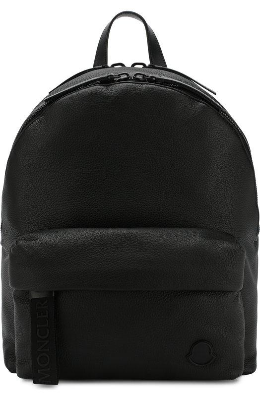 Купить Кожаный рюкзак с внешним карманом на молнии Moncler, D1-09A-00624-00-07497, Румыния, Черный, Кожа натуральная: 100%;