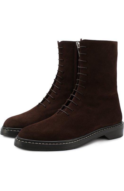 Купить Замшевые ботинки на шнуровке The Row, F1062-L25, Италия, Темно-коричневый, Замша натуральная: 100%; Подошва-кожа: 100%; Подкладка-кожа: 100%;