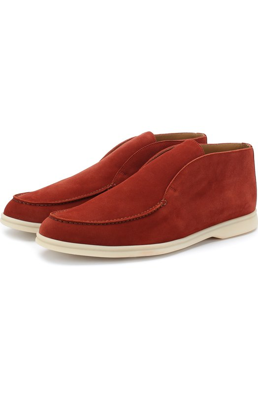 Купить Замшевые ботинки Open Walk без шнуровки Loro Piana, FAB4368, Италия, Красный, Стелька-Кожа: 100%; Подошва-Резина: 100%; Замша натуральная: 100%; Подкладка-Кожа: 100%; Кожа: 100%; Низ-Кожа: 100%;