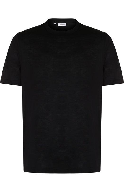 Купить Шелковая футболка с круглым вырезом Brioni, UJ7F0L/07608, Италия, Черный, Шелк: 100%;