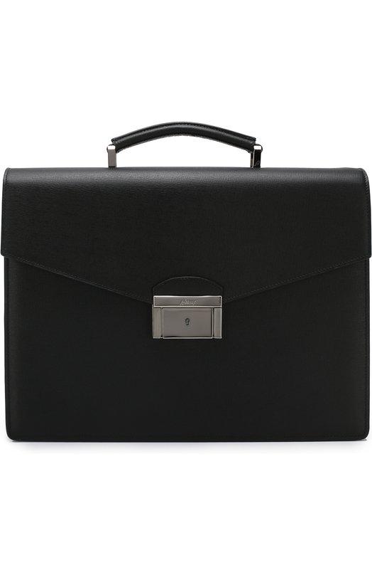 Купить Кожаный портфель с клапаном Brioni, 0ISP0M/P3705, Италия, Черный, Кожа: 100%;