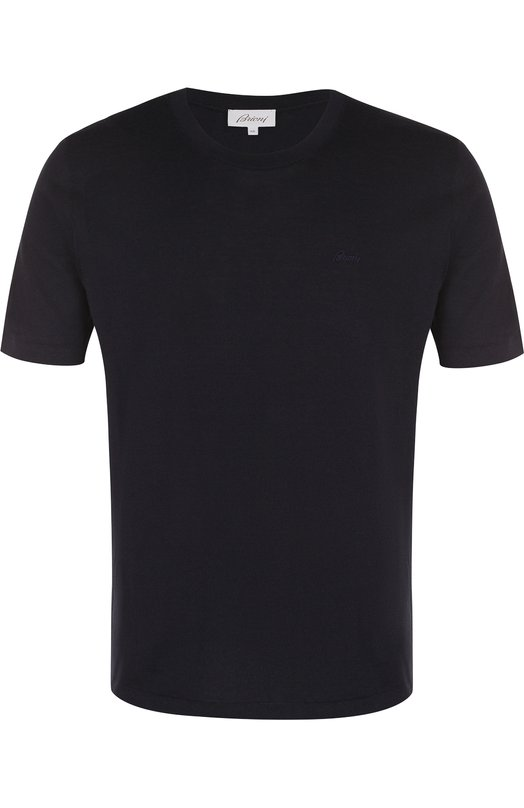 Купить Хлопковая футболка с круглым вырезом Brioni, UMAW0L/07K03, Италия, Темно-синий, Хлопок: 100%;