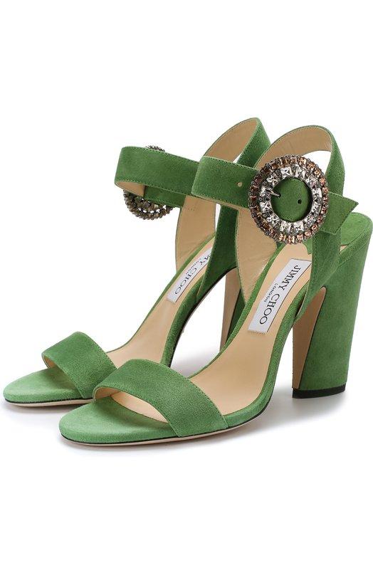 Купить Замшевые босоножки Mischa 100 на устойчивом каблуке Jimmy Choo, MISCHA 100/UCB, Италия, Зеленый, Подошва-кожа: 80%; Подошва-резина: 20%; Подкладка-кожа: 100%; Кожа: 100%;