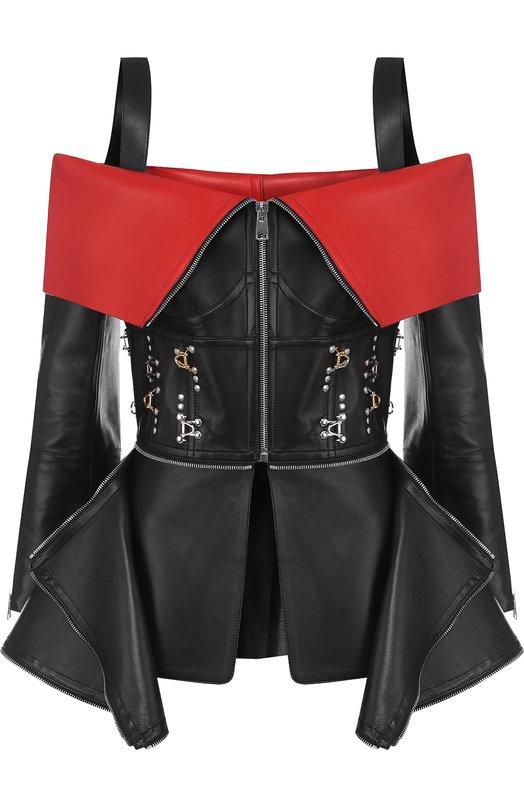 Купить Кожаный жакет на молнии с декоративной отделкой Alexander McQueen, 519051/Q5KVD, Италия, Черный, Кожа: 100%; Подкладка-эластан: 100%;