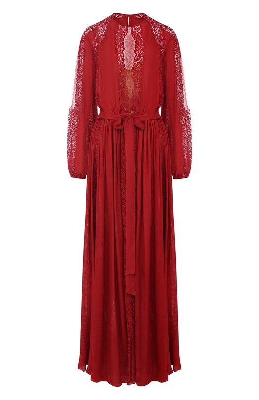 Купить Шелковое платье-макси с кружевной отделкой Zuhair Murad, DRS18030/CHSI001, Ливан, Красный, Шелк: 75%; Полиамид: 25%;