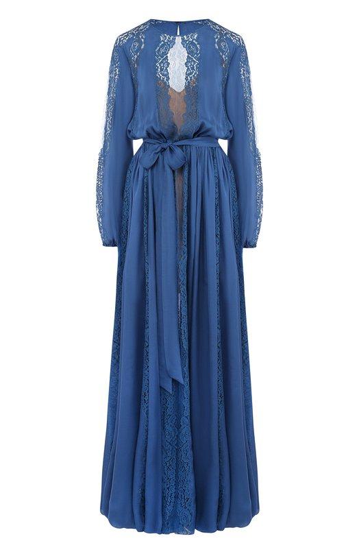 Купить Шелковое платье-макси с кружевной отделкой Zuhair Murad, DRS18030/CHSI001, Ливан, Синий, Шелк: 75%; Полиамид: 25%;