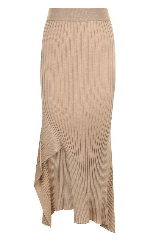 Купить Однотонная юбка-миди асимметричного кроя Stella McCartney, 521165/S1882, Италия, Бежевый, Шерсть: 70%; Шелк: 30%;