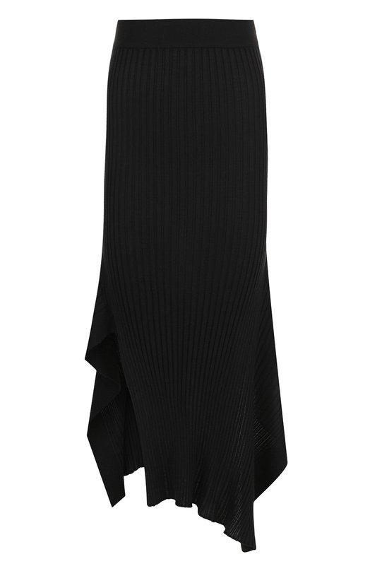 Купить Однотонная юбка-миди асимметричного кроя Stella McCartney, 521165/S1882, Италия, Черный, Шерсть: 70%; Шелк: 30%;