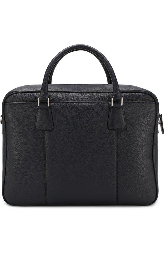Купить Кожаная сумка для ноутбука с плечевым ремнем Canali, P325145/NA00051, Италия, Темно-синий, Кожа: 100%;