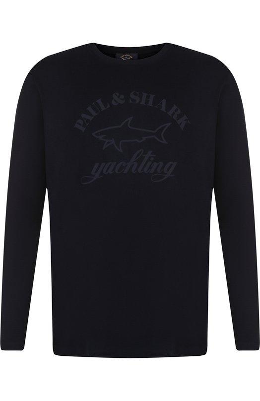 Купить Хлопковый свитшот с принтом Paul&Shark, A18P1617, Италия, Темно-синий, Хлопок: 100%;