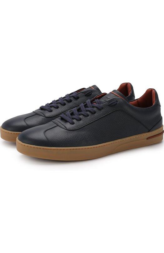 Купить Кожаные кеды 70'S Walk на шнуровке Loro Piana, FAI2878, Италия, Темно-синий, Подошва-Резина: 100%; Подкладка-Кожа: 100%; Кожа: 100%;