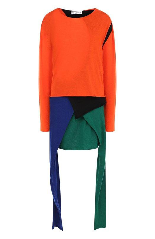 Купить Шерстяное мини-платье асимметричного кроя с оборками J.W. Anderson, KW21WR18 502/412, Италия, Оранжевый, Шерсть: 100%;