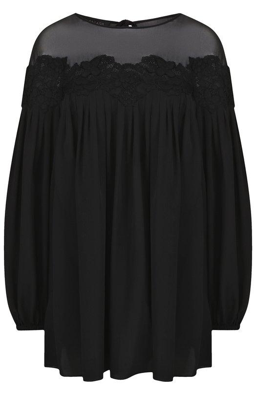 Купить Однотонная шелковая блуза свободного кроя Escada, 5026899, Китай, Черный, Шелк: 100%;