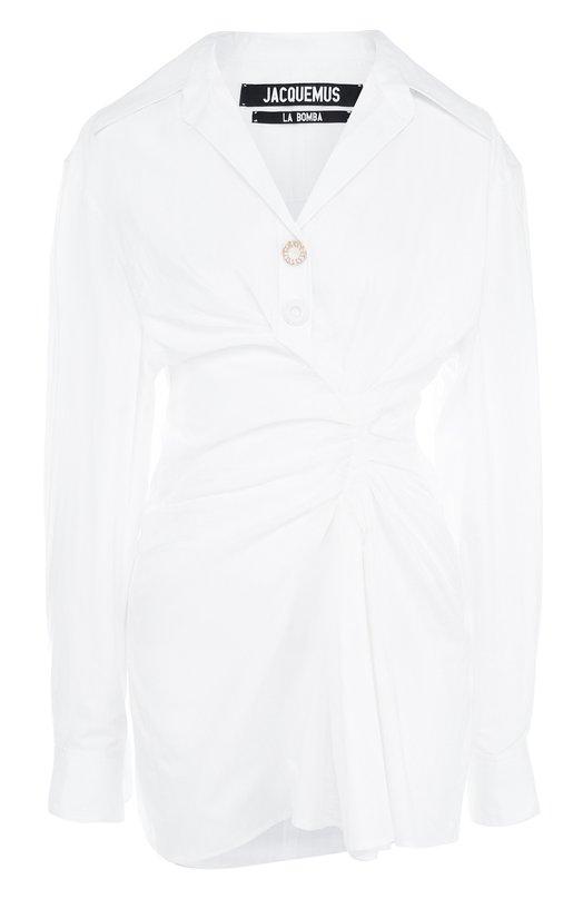 Купить Однотонное хлопковое мини-платье Jacquemus, 181DR18, Болгария, Белый, Хлопок: 100%;