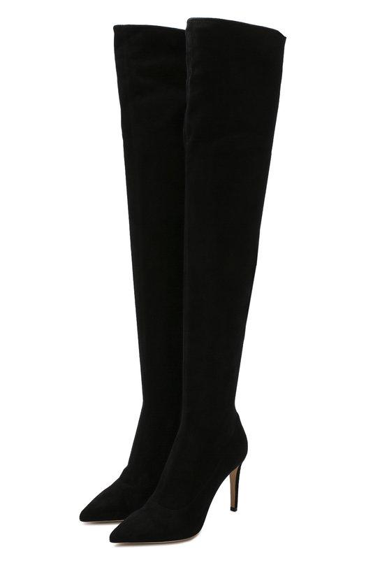 Купить Замшевые ботфорты на шпильке Sergio Rossi, A64091-MAF714, Италия, Черный, Подошва-кожа: 100%; Подкладка-кожа: 100%; Кожа: 100%;