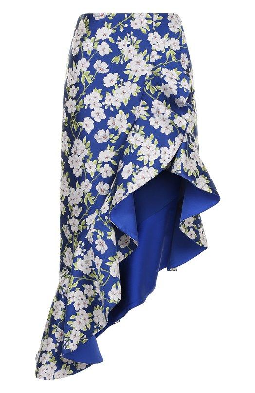 Купить Юбка асимметричного кроя с оборками и принтом Alice + Olivia, CC804Q23309, Вьетнам, Синий, Полиэстер: 100%;