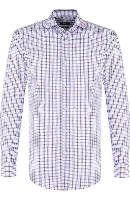 Купить Хлопковая сорочка с воротником акула BOSS, 50389212, Китай, Розовый, Хлопок: 100%;
