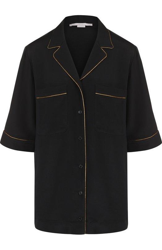Купить Шелковая блуза с контрастной отделкой Stella McCartney, 530210/SLA03, Венгрия, Черный, Шелк: 100%;
