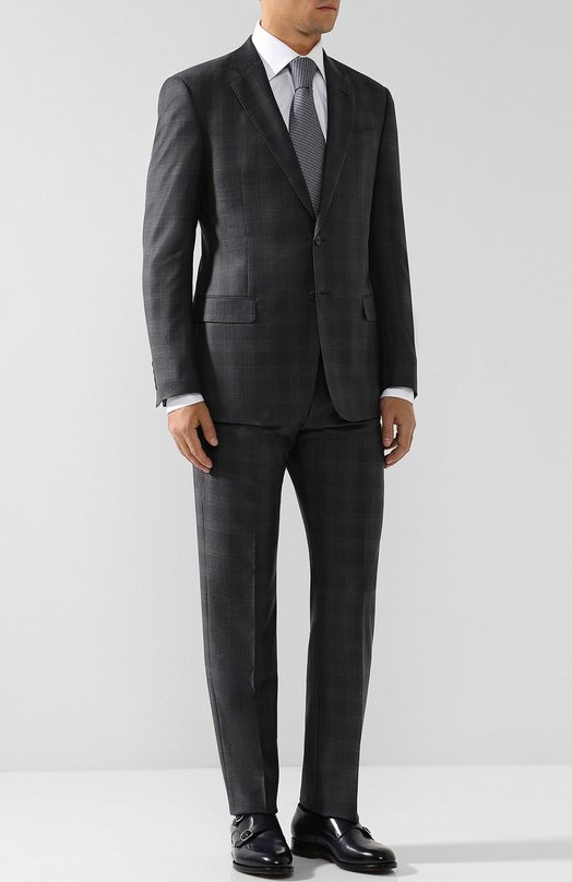 Купить Шерстяной костюм с пиджаком на двух пуговицах Giorgio Armani, WSVE2E/WS814, Италия, Темно-серый, Подкладка-вискоза: 100%; Шерсть супер 150: 100%;