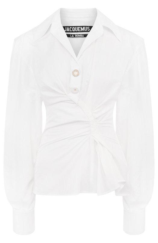 Купить Однотонная хлопковая блуза с драпировкой Jacquemus, 181SH02, Болгария, Белый, Хлопок: 100%;