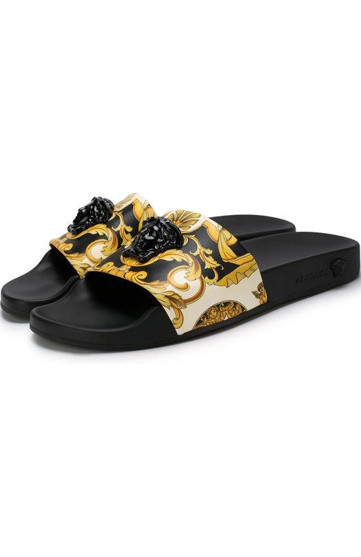 Купить Кожаные шлепанцы Palazzo с принтом Versace, DSR260C/DVTBR5, Италия, Золотой, Подошва-резина: 100%; Подкладка-кожа: 100%; Кожа: 100%;