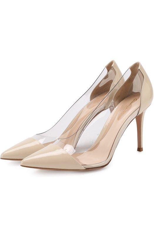 Купить Лаковые туфли Plexi на шпильке Gianvito Rossi, G20938.85RIC.VPXP0TX, Италия, Бежевый, Кожа: 60%; Плексиглас: 40%; Подошва-кожа: 100%; Подкладка-кожа: 100%;