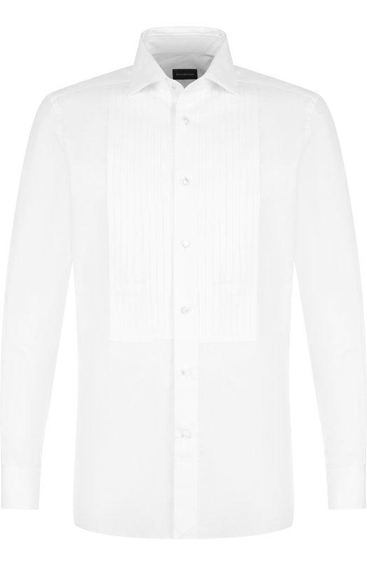 Купить Хлопковая сорочка под смокинг Ermenegildo Zegna, 301970/9MCMRM, Швейцария, Белый, Хлопок: 70%; Шелк: 30%;