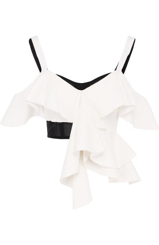 Купить Хлопковый топ с оборками и открытыми плечами Proenza Schouler, R182450-FCB04, США, Белый, Хлопок: 71%; Полиамид: 29%;