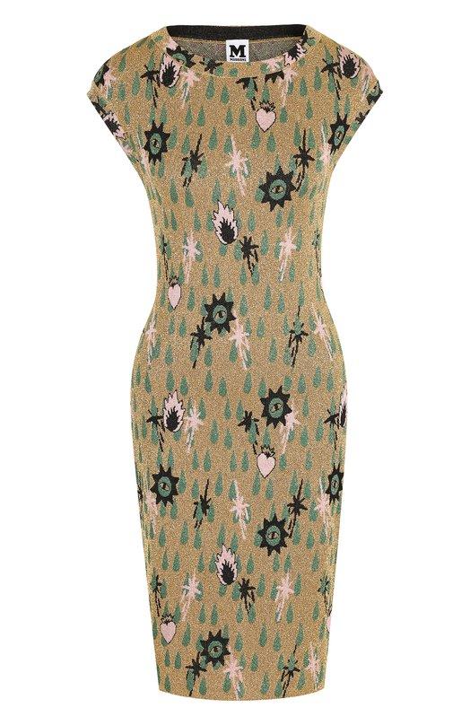 Купить Приталенное мини-платье с круглым вырезом и металлизированной нитью M Missoni, QD3KD3F52TQ, Украина, Золотой, Полиамид: 84%; Металлизированное волокно: 16%;