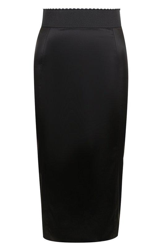 Купить Однотонная юбка-карандаш с эластичным поясом Dolce & Gabbana, F4BD3T/FURAD, Италия, Черный, Ацетат: 65%; Эластан: 6%; Полиамид: 29%;