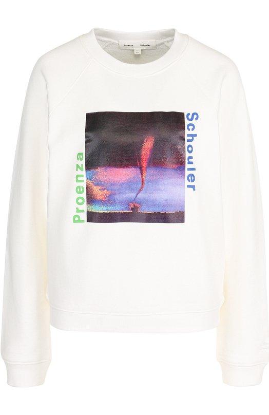 Купить Хлопковый пуловер с круглым вырезом и принтом Proenza Schouler, WL1834079-JCP70S, Китай, Белый, Хлопок: 100%;