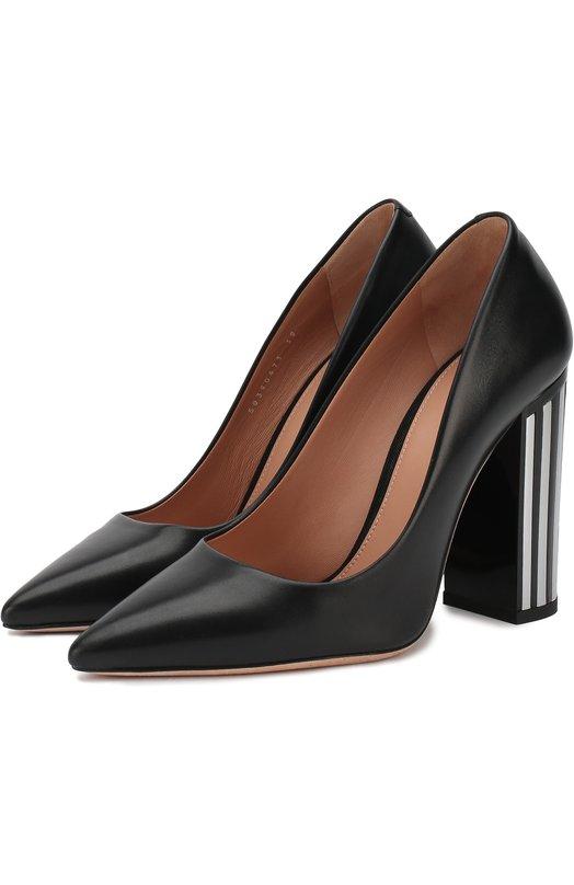 Купить Кожаные туфли на устойчивом каблуке BOSS, 50390673, Италия, Черный, Подошва-кожа: 100%; Подкладка-кожа: 100%; Кожа: 100%;