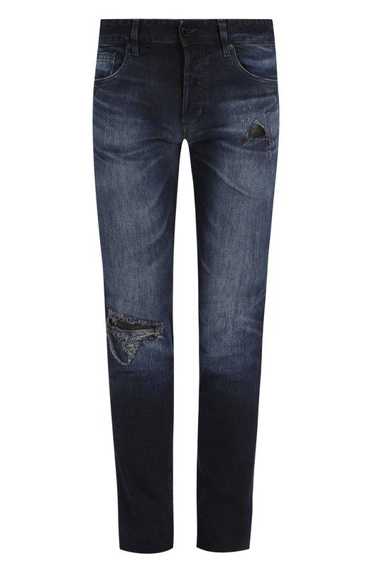 Купить Зауженные джинсы с потертостями Just Cavalli, S01LA0071/N31469, Румыния, Темно-синий, Хлопок: 96%; Полиэстер: 3%; Эластан: 1%;