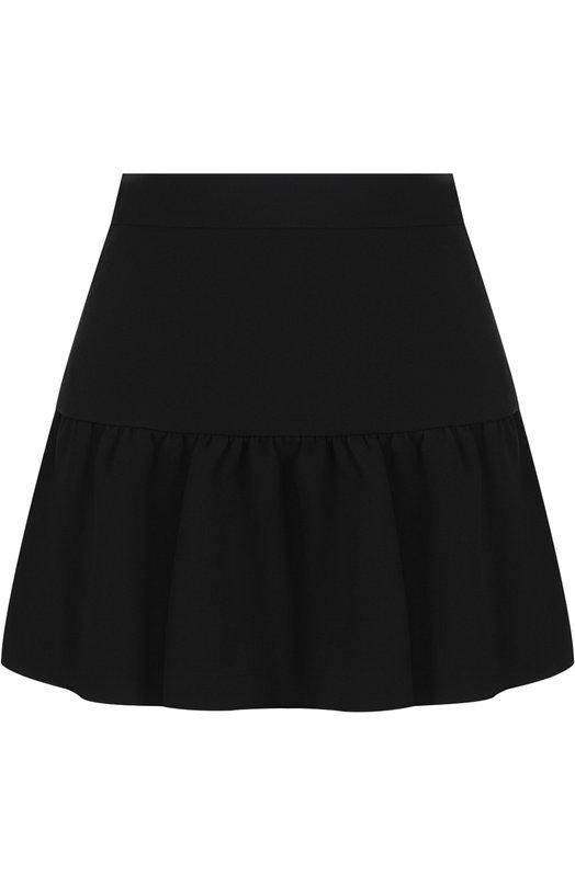 Купить Однотонная мини-юбка А-силуэта REDVALENTINO, QR3RA2Y0/2EU, Венгрия, Черный, Ацетат: 51%; Вискоза: 46%; Эластан: 3%;