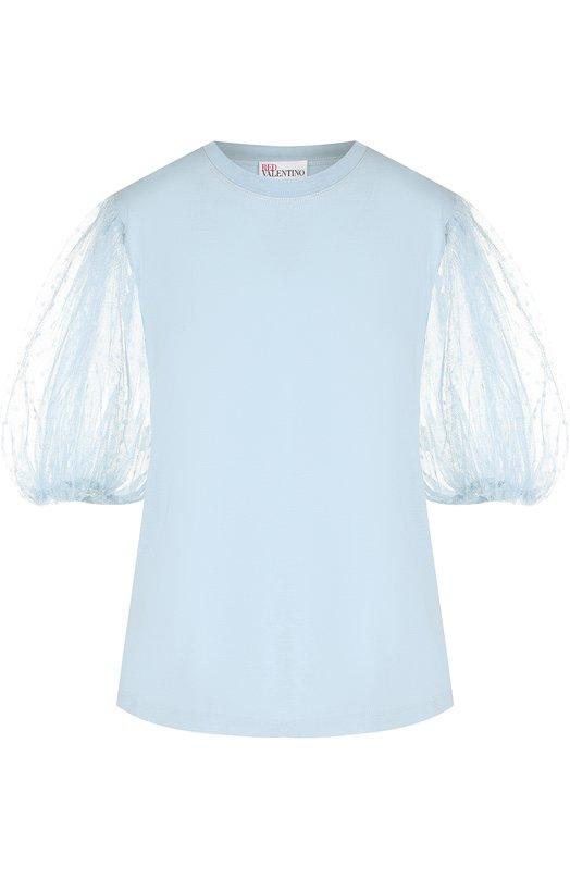 Купить Хлопковая футболка с круглым вырезом REDVALENTINO, QR3MG09V/40L, Италия, Голубой, Хлопок: 100%;