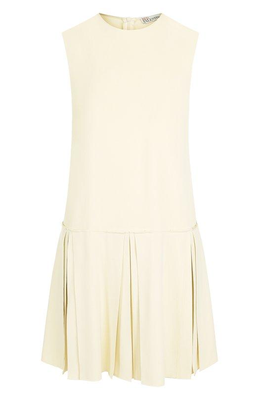Купить Однотонное мини-платье с круглым вырезом REDVALENTINO, QR3VA785/2EU, Венгрия, Бежевый, Ацетат: 51%; Вискоза: 46%; Эластан: 3%;