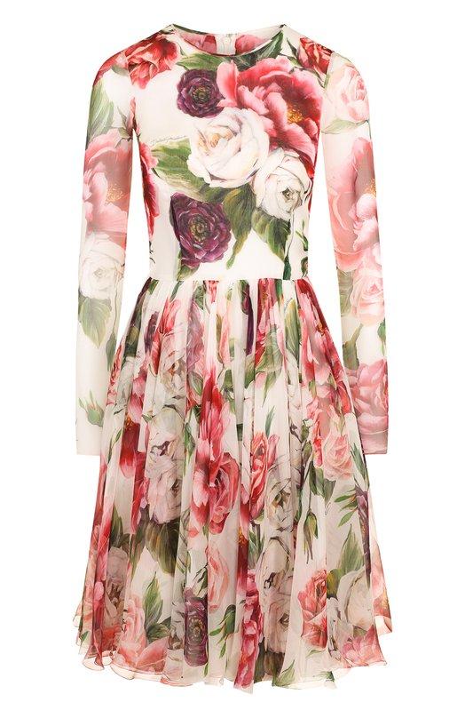 Купить Шелковое мини-платье с цветочным принтом Dolce & Gabbana, F6A7ET/GDJ18, Италия, Разноцветный, Шелк: 100%;