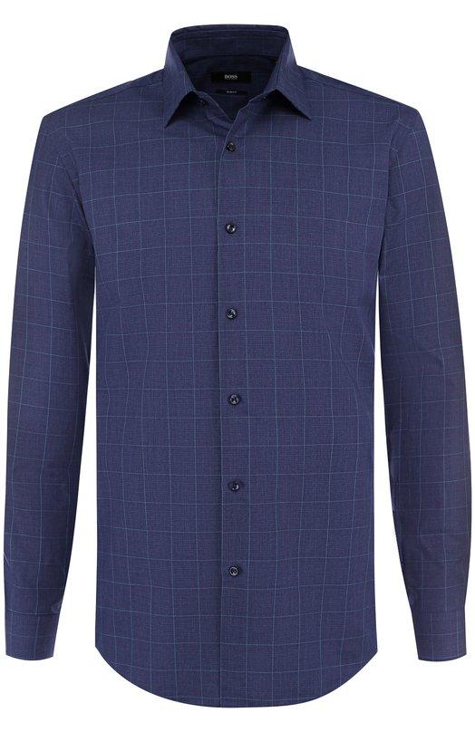 Купить Хлопковая сорочка с воротником кент BOSS, 50389213, Китай, Темно-синий, Хлопок: 100%;