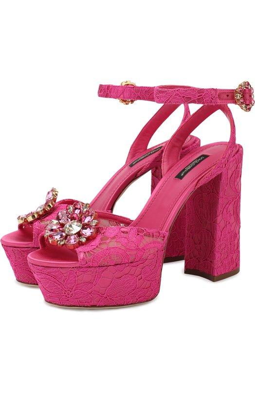 Купить Босоножки Keira на устойчивом каблуке и платформе Dolce & Gabbana, CR0682/AL198, Италия, Фуксия, Полиамид: 8%; Вискоза: 59%; Подкладка-кожа: 57%; Подкладка-вискоза: 29%; Хлопок: 17%; Шелк: 16%; Подкладка-шелк: 14%; Подошва-кожа: 100%;