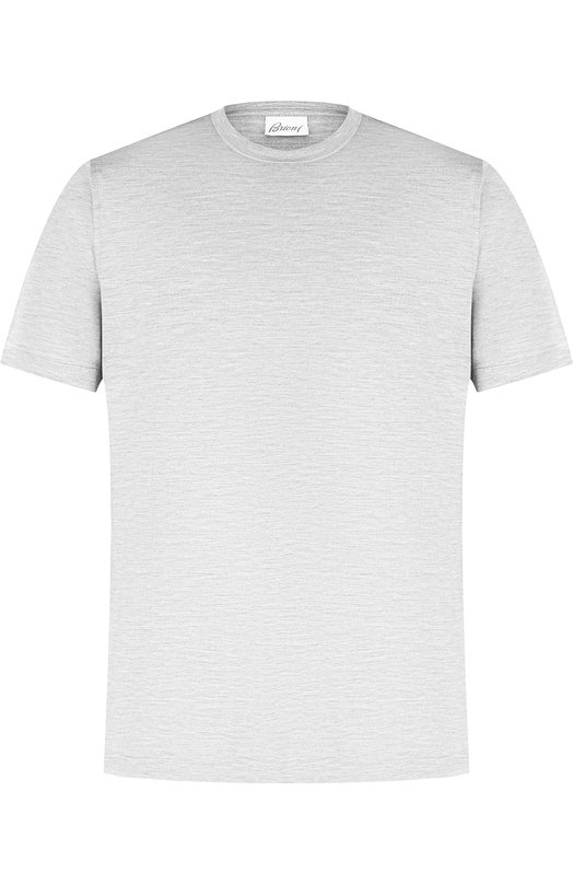 Купить Шелковая футболка с круглым вырезом Brioni, UJ7F0L/07608, Италия, Светло-серый, Шелк: 100%;