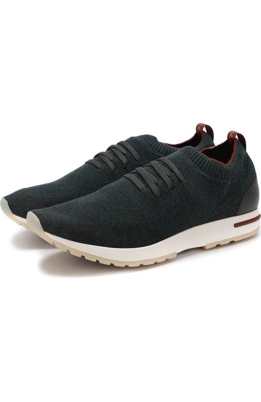 Купить Текстильные кроссовки 360 Lp Walk на шнуровке Loro Piana, FAI1540, Италия, Зеленый, Текстиль: 80%; Кожа: 20%; Подкладка-кожа: 100%; Стелька-кожа: 100%; Подошва-резина: 100%;