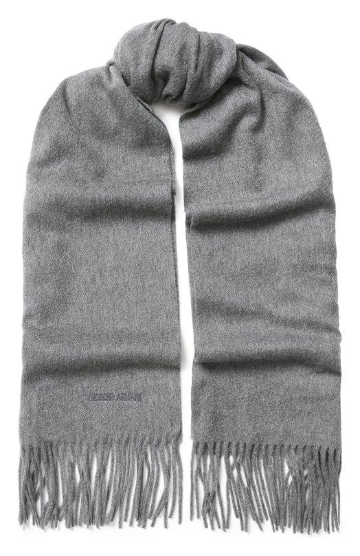 Купить Кашемировый шарф с бахромой Giorgio Armani, 745208/8A130, Италия, Серый, Кашемир: 100%;